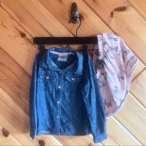 Oshkosh Chambray Polka Dot Top + Animal Skirt 3t
